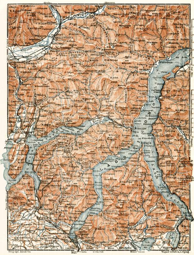 Old map of the vicinities of the Como and Lugano Lakes in 1913