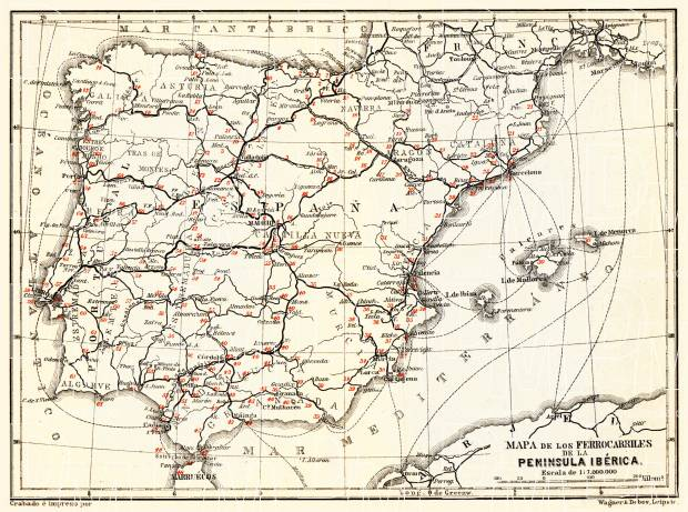 Spain of the railway map of Iberian Peninsula, 1899. Use the zooming tool to explore in higher level of detail. Obtain as a quality print or high resolution image