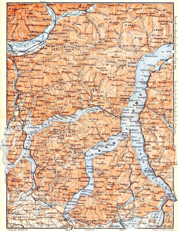 Old map of the vicinities of Como and Lugano Lakes in 1898 Buy