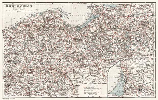 Germany, northeastern regions. General map, 1911. Use the zooming tool to explore in higher level of detail. Obtain as a quality print or high resolution image