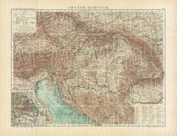 North Italy on the general map of the Austro-Hungarian Empire (in Russian), 1910. Use the zooming tool to explore in higher level of detail. Obtain as a quality print or high resolution image