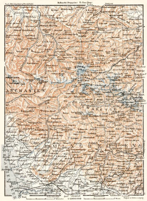 Georgia on the map of West Central Caucasus, 1914. Use the zooming tool to explore in higher level of detail. Obtain as a quality print or high resolution image