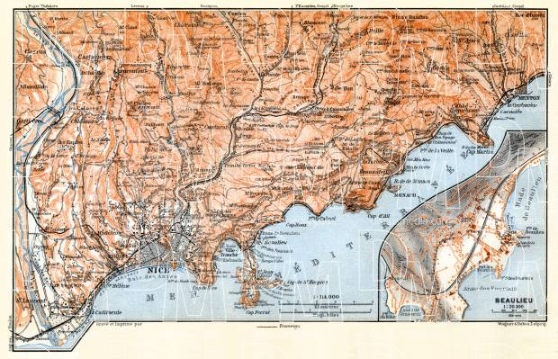 Nice, Menton and environs map with map inset of Monaco and Monte Carlo, 1900. Use the zooming tool to explore in higher level of detail. Obtain as a quality print or high resolution image