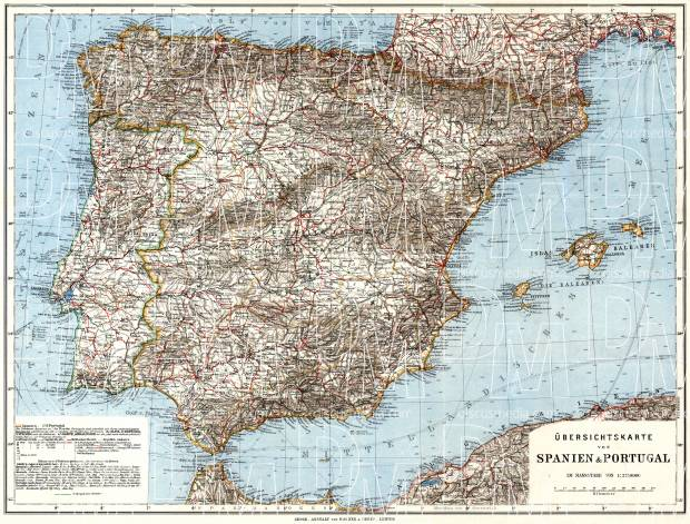 Spain on the general map of the Iberian Peninsula (Spain and Portugal), 1929. Use the zooming tool to explore in higher level of detail. Obtain as a quality print or high resolution image