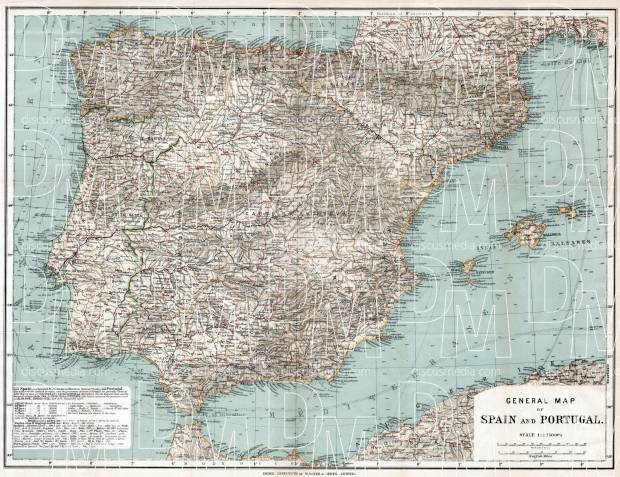 Gibraltar on the general map of the Iberian Peninsula (Spain and Portugal), 1913. Use the zooming tool to explore in higher level of detail. Obtain as a quality print or high resolution image