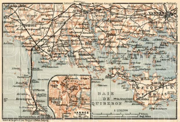 Le Morbihan. Vannes and vicinities map, 1913. Use the zooming tool to explore in higher level of detail. Obtain as a quality print or high resolution image