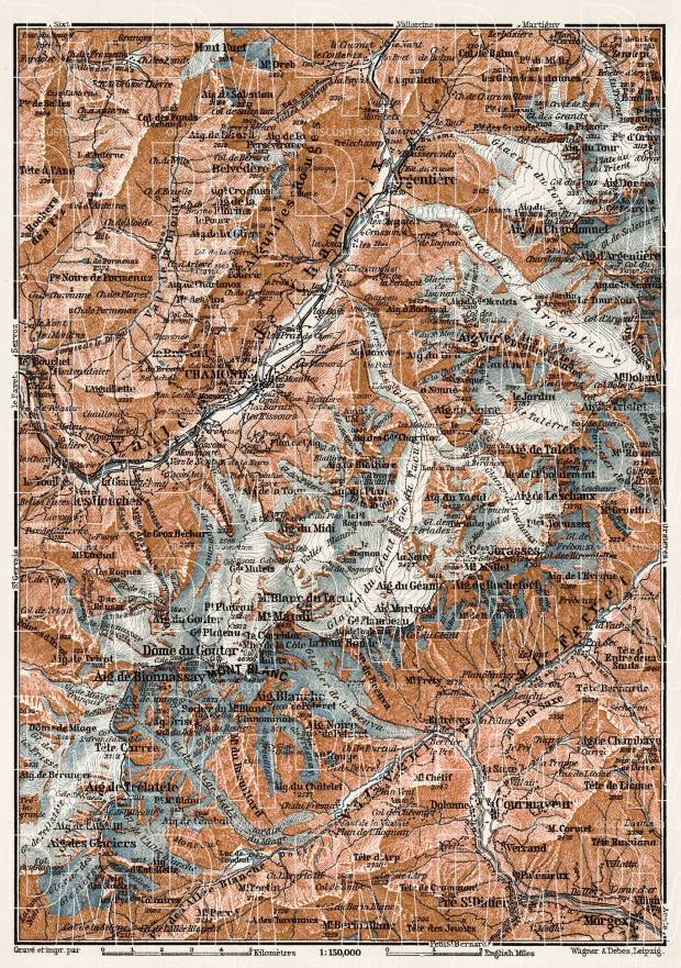 Mont Blanc and Chamonix Valley map, 1909. Use the zooming tool to explore in higher level of detail. Obtain as a quality print or high resolution image