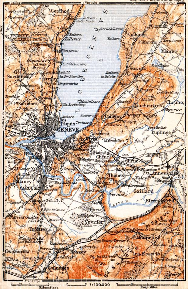 Swiss cantons of Vaud, Geneva, and Valais along the lake of Geneva (Lac Léman) environs, 1900. Use the zooming tool to explore in higher level of detail. Obtain as a quality print or high resolution image