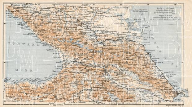 South Russia on the general map of Caucasus, 1914. Use the zooming tool to explore in higher level of detail. Obtain as a quality print or high resolution image