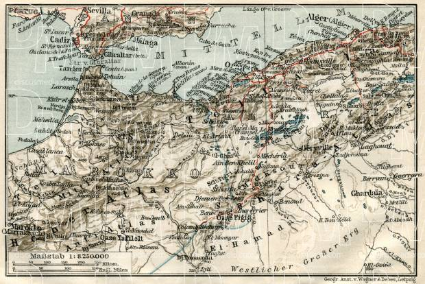 Algeria on the map of the northwestern part of the French Sudan, 1909. Use the zooming tool to explore in higher level of detail. Obtain as a quality print or high resolution image