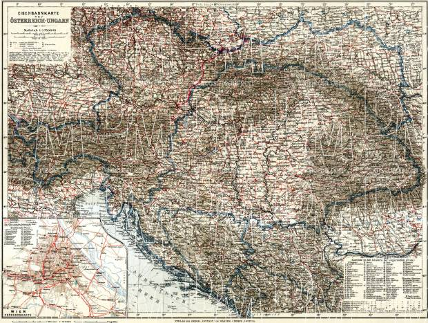 Hungary on the railway map of Austria-Hungary and surrounding states, 1913. Use the zooming tool to explore in higher level of detail. Obtain as a quality print or high resolution image