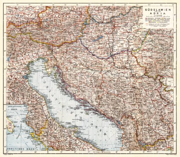Czech Republic on the map of Yugoslavia and Adriatic region, 1929. Use the zooming tool to explore in higher level of detail. Obtain as a quality print or high resolution image
