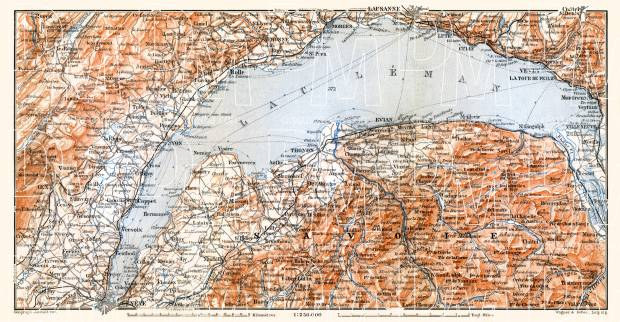 Haute-Savoie (Upper Savoy) département along the lake of Geneva (Lac Léman, Genfersee) map, 1900. Use the zooming tool to explore in higher level of detail. Obtain as a quality print or high resolution image