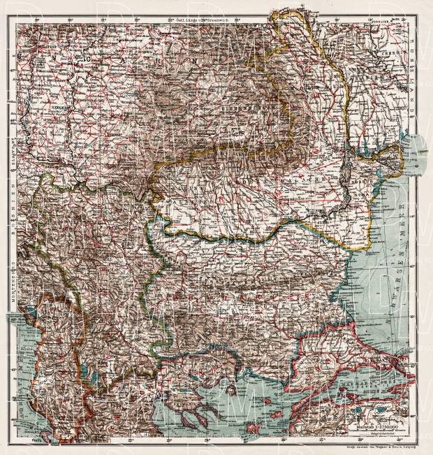 Bulgaria on the general map of the Balkan Countries, 1914. Use the zooming tool to explore in higher level of detail. Obtain as a quality print or high resolution image
