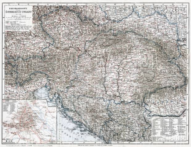Croatia on the railway map of Austria-Hungary and surrounding states, 1910. Use the zooming tool to explore in higher level of detail. Obtain as a quality print or high resolution image