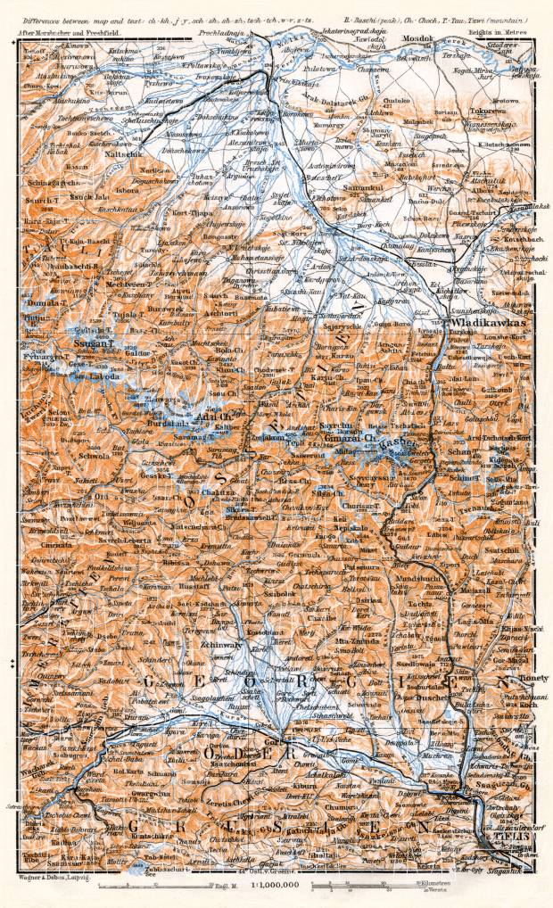 Georgia on the map of East Central Caucasus, 1914. Use the zooming tool to explore in higher level of detail. Obtain as a quality print or high resolution image