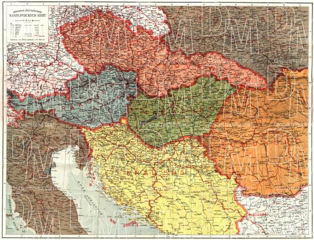 Serbia on the General and Railway Map of the Austro-Hungarian Empire Successor States, 1920. Use the zooming tool to explore in higher level of detail. Obtain as a quality print or high resolution image