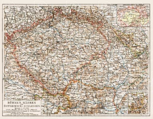 Czech Republic on the general map of Bohemia, Moravia and Austrian Silesia, 1903. Use the zooming tool to explore in higher level of detail. Obtain as a quality print or high resolution image
